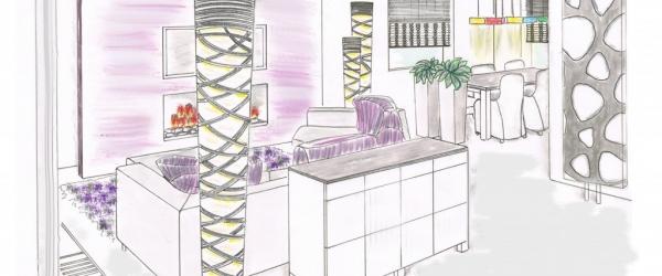 3D schets interieurs mimeubels